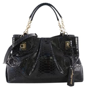 Salvatore Ferragamo Python Tote in Dark Blue