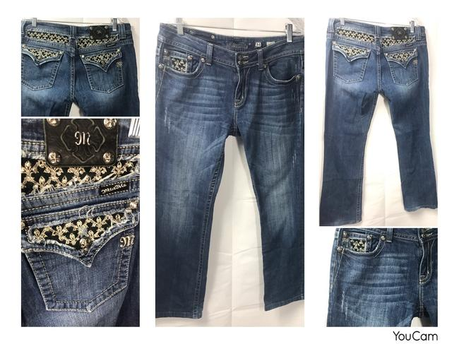 Miss Me Blue Distressed Womens Bling Hip Hop Style# Jp5002b53 Measure 34x31 Boot Cut Jeans Size 34 (12, L) Miss Me Blue Distressed Womens Bling Hip Hop Style# Jp5002b53 Measure 34x31 Boot Cut Jeans Size 34 (12, L) Image 1