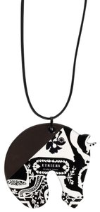 Hermès HERMÈS White and Black Horse Penndant Necklace