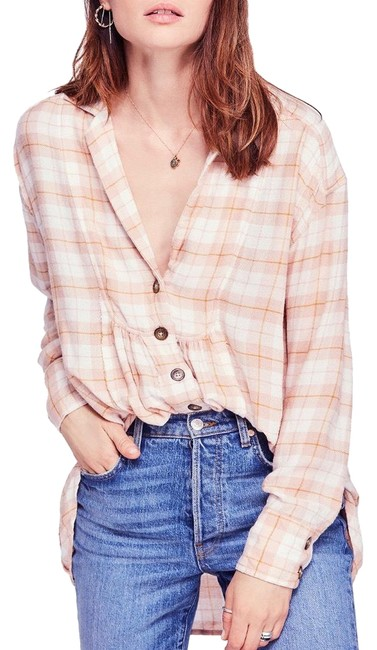 Item - Rose Combo All About The Feel Cotton Plaid Shirt Oversized Small Button-down Top Size 6 (S)