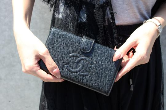 Chanel Authentic CHANEL Caviar Timeless CC French Wallet Black Image 10