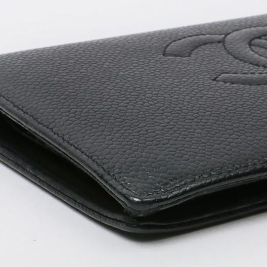 Chanel Authentic CHANEL Caviar Timeless CC French Wallet Black Image 4