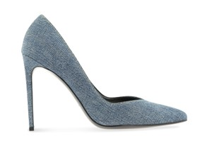 Saint Laurent Monogram Yves Ysl Runway Spring Summer Blue Pumps
