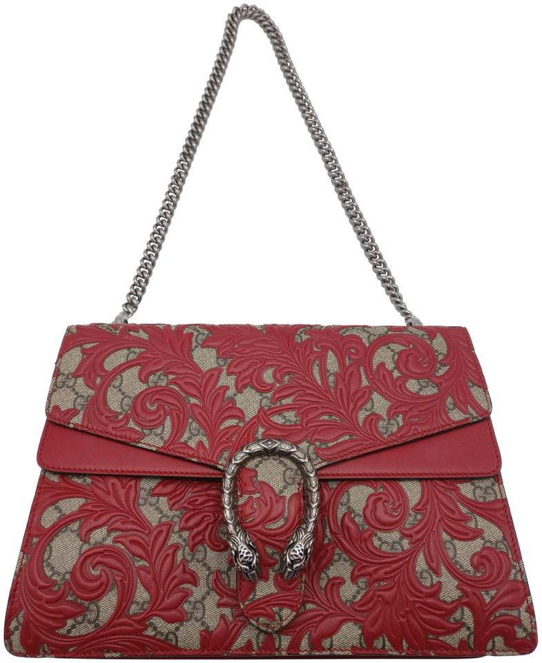c31bcd6a7b9a60 Gucci Dionysus Bag Gg Supreme Chain Canvas Arabesque Red Leather ...