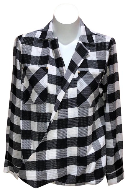 Michael Kors Black and White Mk Plaid Blouse Size 4 (S) Michael Kors Black and White Mk Plaid Blouse Size 4 (S) Image 1