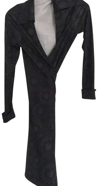 Item - Black with Multi Pattern Dvf Wrap Mid-length Work/Office Dress Size 6 (S)