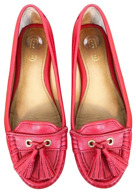 Item - Red Isa Leather Tassel Driving Loafers Flats Size US 6.5 Regular (M, B)