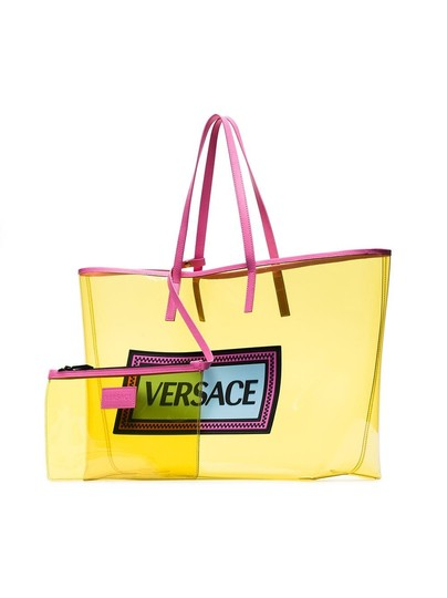 Versace Rockstud Studded Classic Quilted Fanny Tote in Yellow Image 4