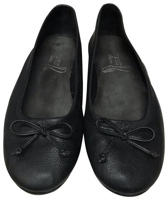 Item - Black Stitchnturn Leather Flats Size US 7 Regular (M, B)
