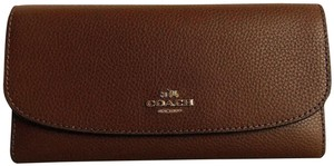 c6f37d0e737b47 Coach New Coach 16613 Pebbled Leather Checkbook wallet Saddle 2