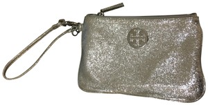 Tory Burch Silver Wristlet with silver color hardware.