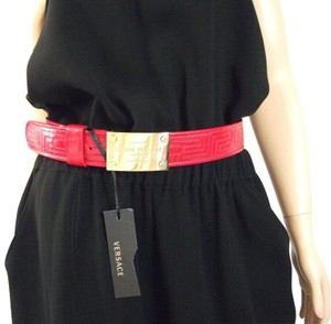 Versace Gianni Versace Couture Red Patent Leather Gold Buckle Belt
