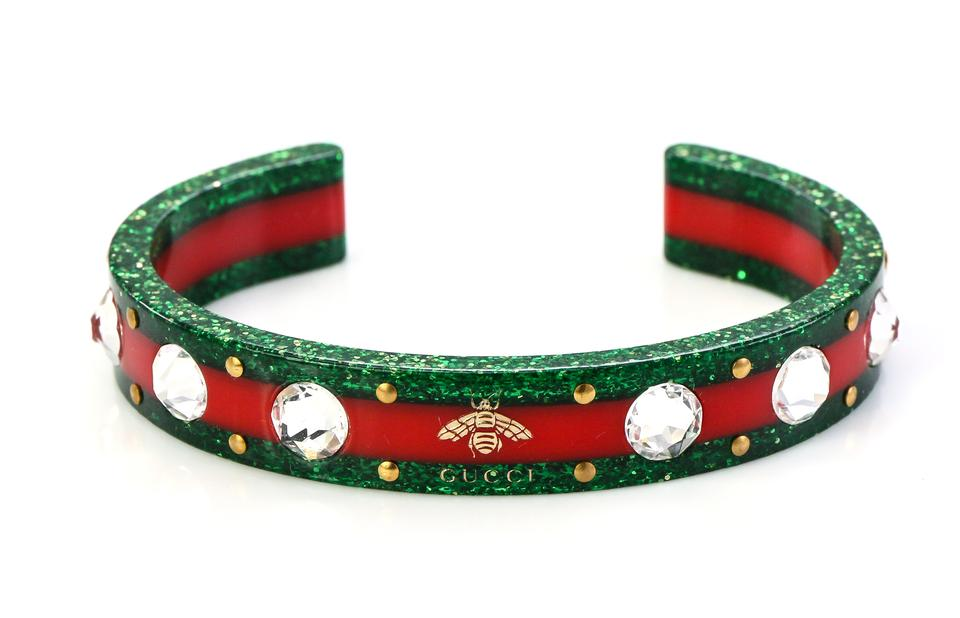 462f88835 Gucci Greed and Red Stripe Open Cuff Crystal Bee Bracelet - Tradesy