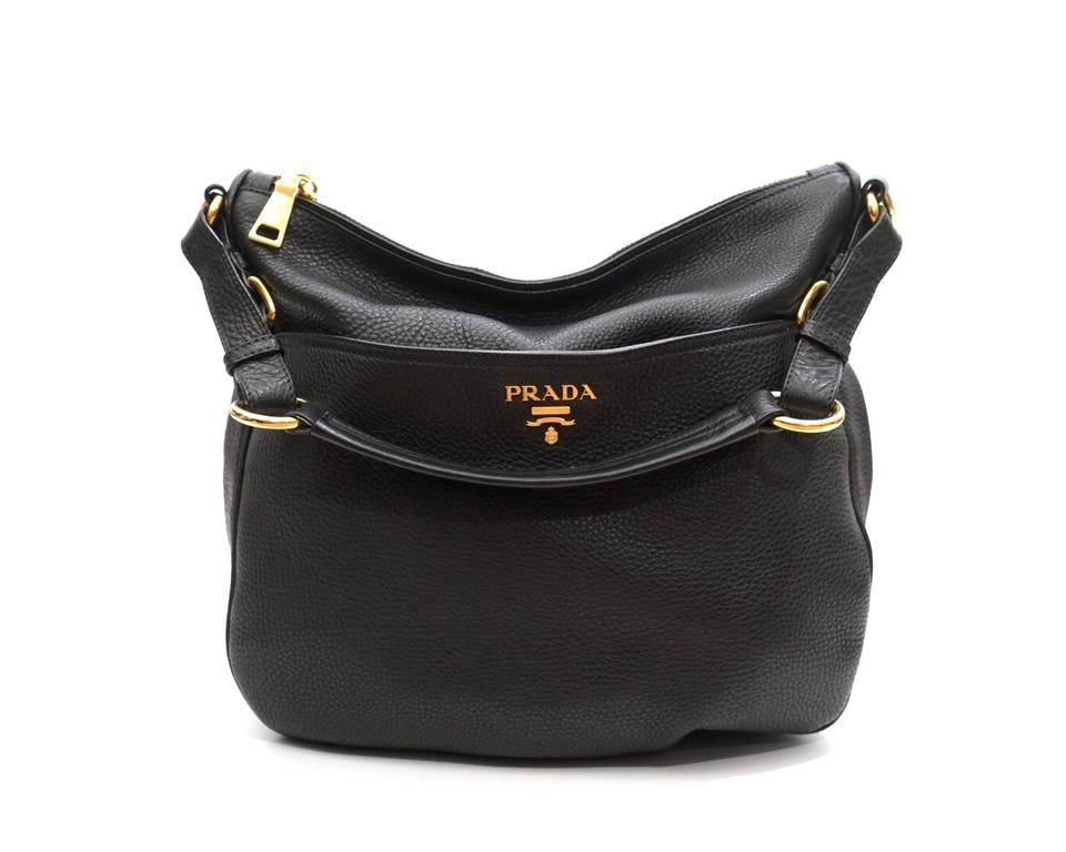 c32a12a9c604 Prada Vitello Daino Shoulder Sacca Black Leather Hobo Bag - Tradesy
