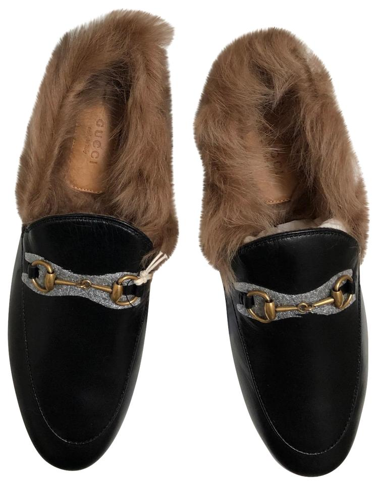 f31e2abde Gucci Black Women's Jordaan Leather Loafer with Fur In Flats Size EU ...