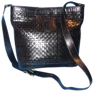 Fendi Rare Early High End Bohemian Mint Condition Bucket Bag/Satchel Satchel in black woven leather or shoulder bag