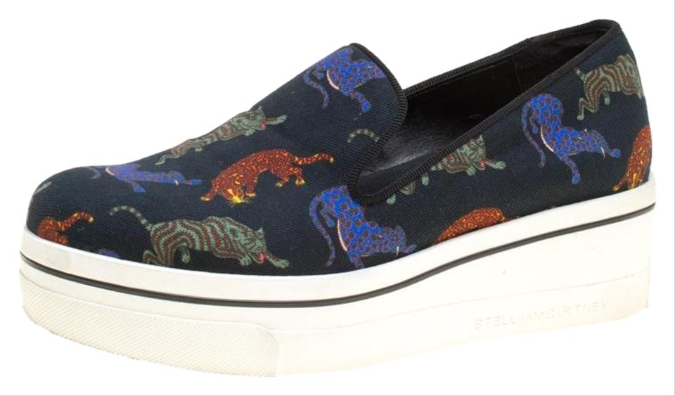 ecb44a72f1ce Stella McCartney Black Multicolor Animal Print Canvas Platform Slip On  Sneakers Flats