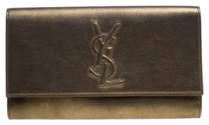 Saint Laurent Leather Metallic Clutch