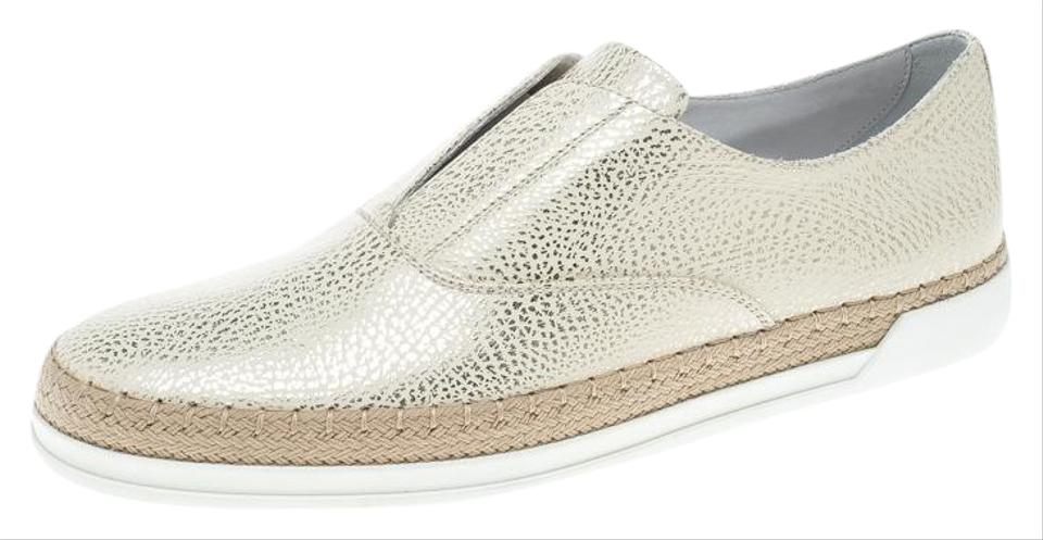 59bbed2f1 Tod's Cream Textured Leather Francesina Espadrille Slip On Sneakers ...