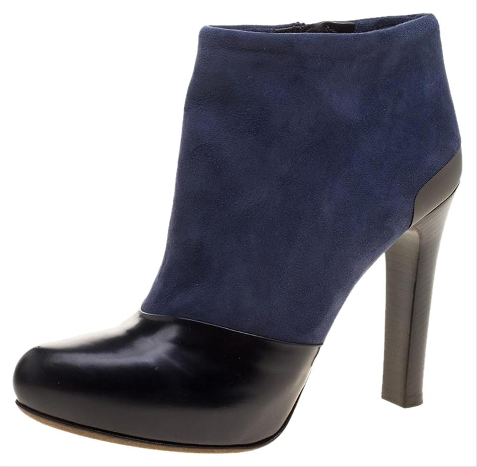 6c2a3eec0d2df Fendi Navy Blue Blue/Black Suede and Leather Ankle Boots/Booties ...
