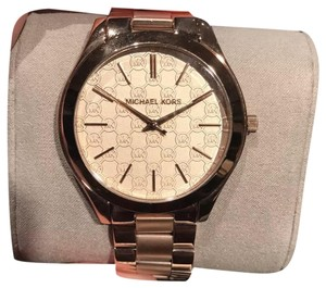 5eb1f231582c Michael Kors New Michael Kors MK3336 Slim Runway Monogram Rose Golden  Ladies Watch