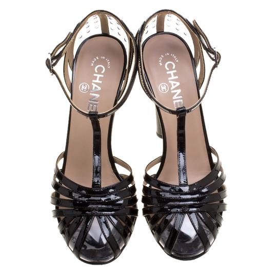 Chanel Patent Leather Pvc Leather Black Sandals Image 1