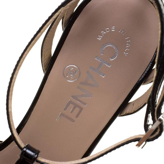 Chanel Patent Leather Pvc Leather Black Sandals Image 4