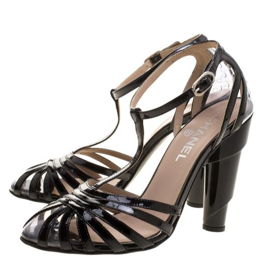 Chanel Patent Leather Pvc Leather Black Sandals Image 5