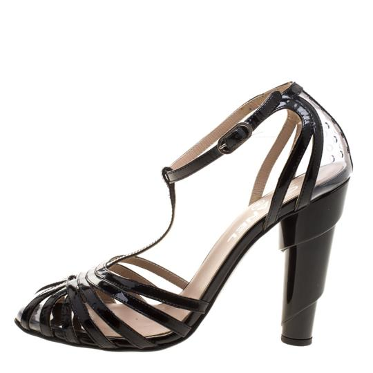Chanel Patent Leather Pvc Leather Black Sandals Image 6