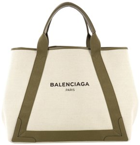Balenciaga Canvas With Leather Tote in beige and olive green
