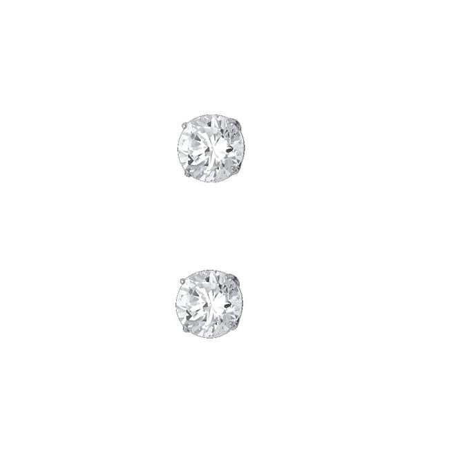 Item - White 14k 6mm Round Cz Basket Stud Screw Back Earrings