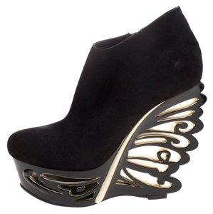 Le Silla Suede Wedge Black Boots