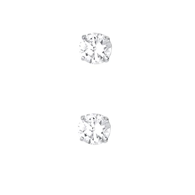 Item - White 14k 4mm Round Cz Basket Stud Screw Back Earrings