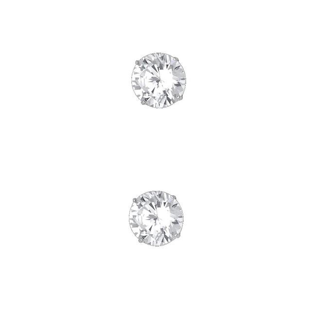 Item - White 14k 7mm Round Cz Basket Stud Screw Back Earrings