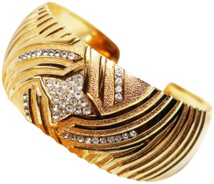 Lanvin Vintage Lanvin Paris Gold with Crystals Cuff Bracelet