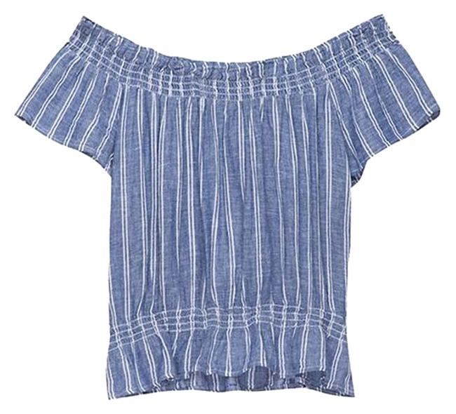 Item - Chic Off The Shoulder Bardot Style Blue and White Stripes Top