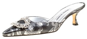 Manolo Blahnik Crystal Embellished Pointed Toe Black Mules