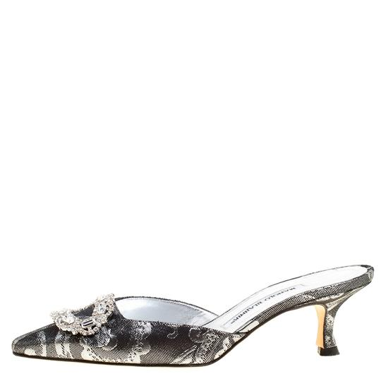 Manolo Blahnik Crystal Embellished Pointed Toe Black Mules Image 4