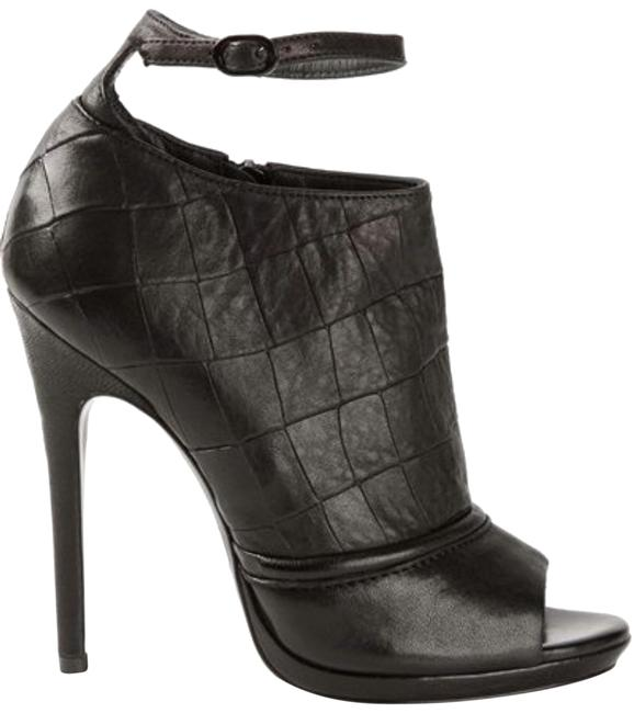 Item - Black Erin Croc-embossed Ankle Strap Boots/Booties Size EU 37 (Approx. US 7) Regular (M, B)