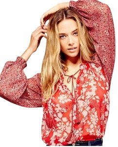 Free People Top Pink and Red