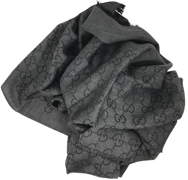 Item - Gray 165903 Womens Wool Silk Gg ssima Muffler Scarf/Wrap