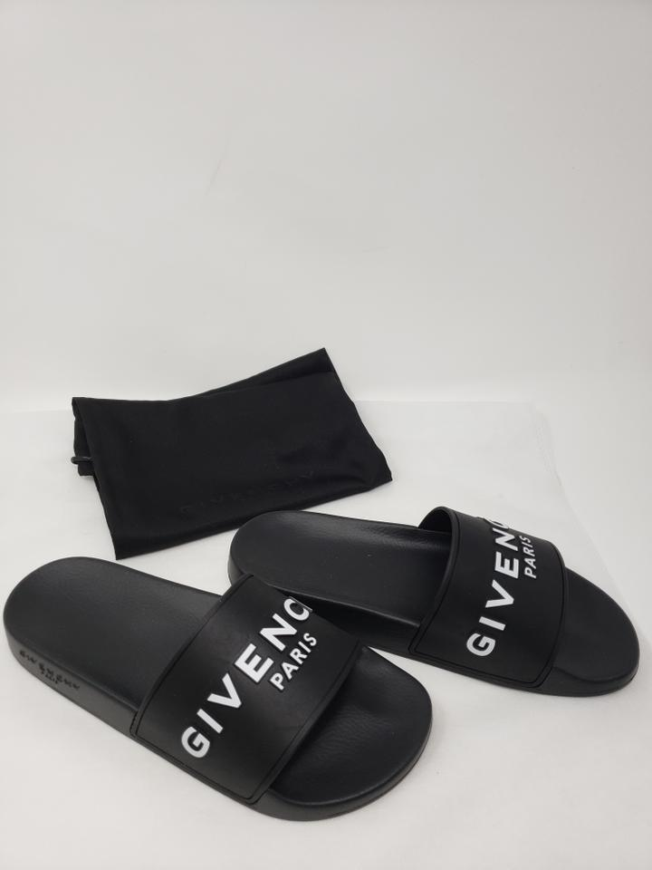 bb1c46a8d Givenchy Black Rubber Paris Logo Printed Pool Slide Sandals Size EU 37 ( Approx. US 7) Regular (M, B) - Tradesy