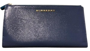 Burberry Light steel Blue London Patent Leather Continental Wallet