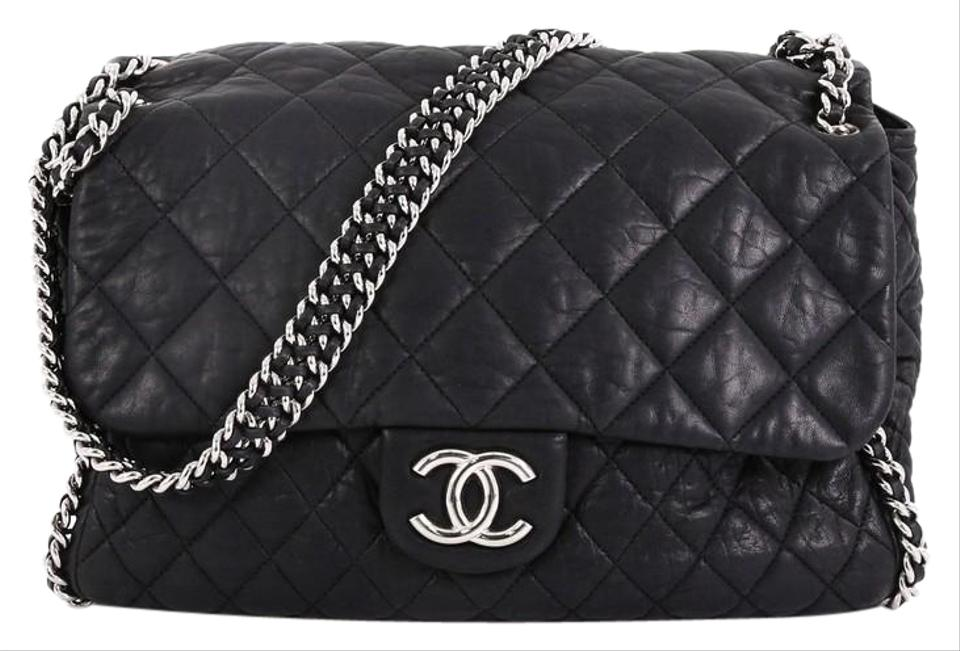 da84d97a66e59d Chanel Classic Flap Chain Around Quilted Maxi Black Leather Satchel ...