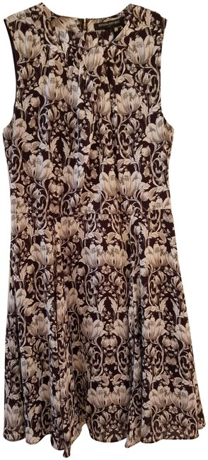 Item - Brown and White Sleeveless Floral Mid-length Work/Office Dress Size 2 (XS)
