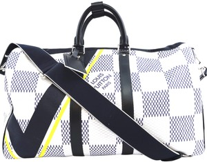 5bdc58574204d6 Louis Vuitton Canvas Keepall 45 Bandouliere Regatta Damier Cobalt Azur  Geant Giant Limited Edition for America's
