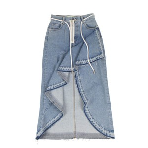Off-White™ Denim Bleach Out Belted Assymetrical Ruffle Skirt Blue