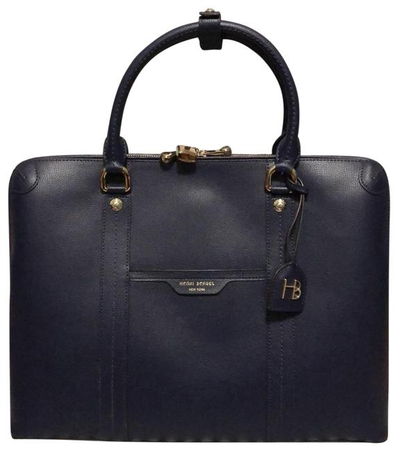 Item - W57th Briefcase Navy Leather Laptop Bag
