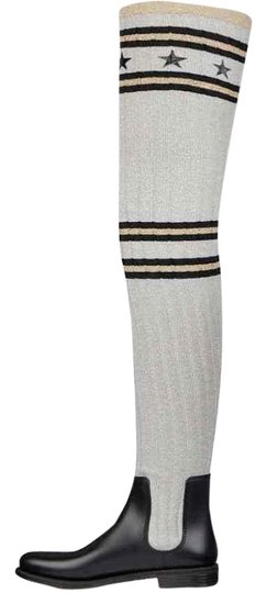 Givenchy Grey Storm Black Silver Gold Sock Knit Thigh High