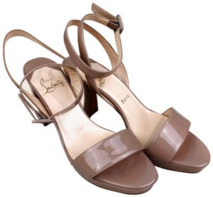 3faffb672538 Christian Louboutin Patent Leather Echasse Beige Sandals